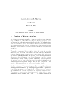 (Less) Abstract Algebra