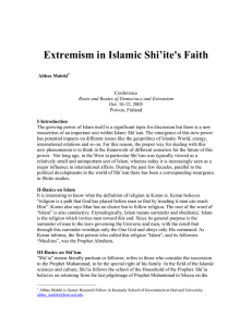 Extremism in Islamic Shi`ite`s Faith