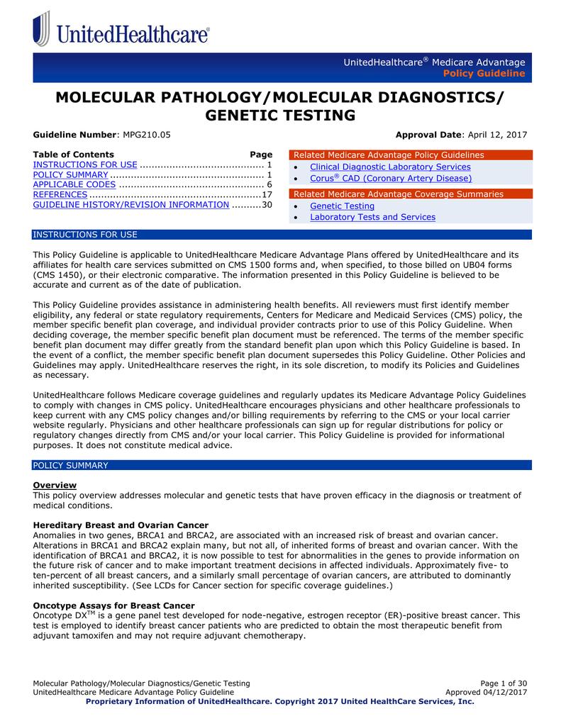 Molecular Pathology/Molecular Diagnostics/Genetic Testing
