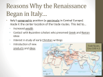 Reasons Why the Renaissance Began in Italy*