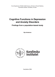 Cognitive Functions in Depression and Anxiety