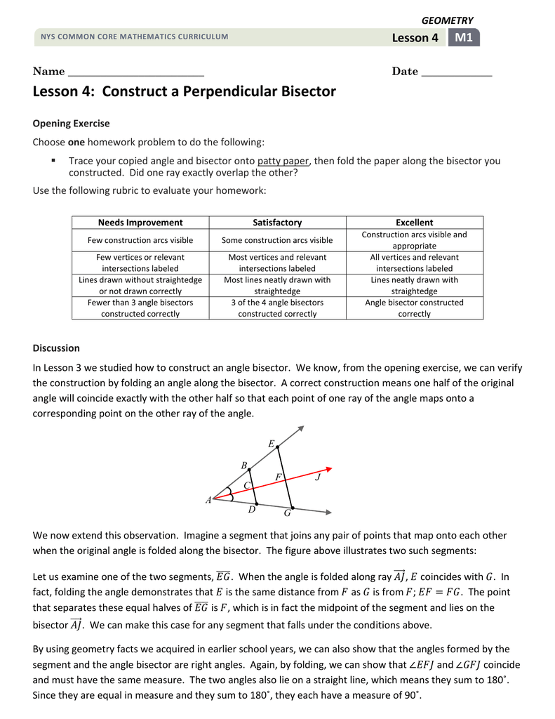 Perpendicular And Angle Bisectors Worksheet