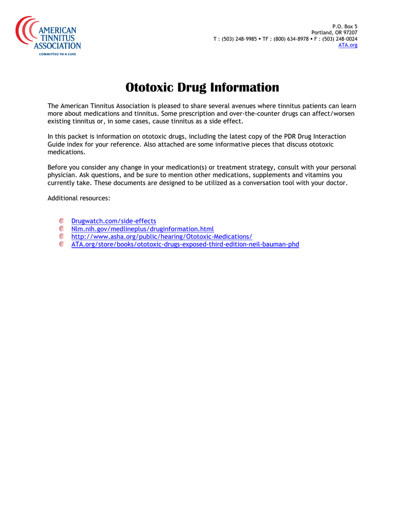 Ototoxic Drug Information