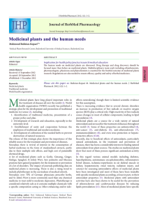 Medicinal plants and the human needs