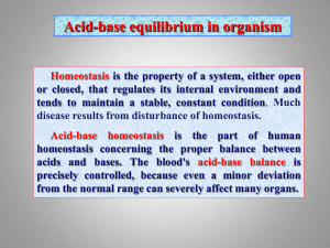 Acid-base equilibrium in organism