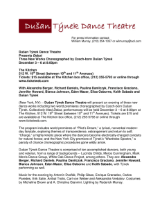 Dušan Týnek Dance Theatre Presents Debut Three New Works
