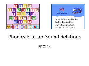 Phonics I: Letter-Sound Relations