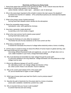 Electricity and Resources Study Guide Answers
