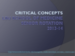 CRITICAL CONCEPTS LSU SCHOOL OF MEDICINE