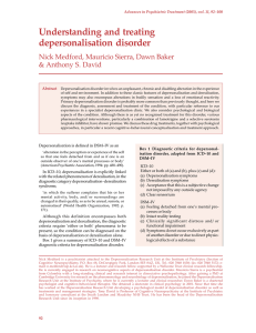 Understanding and treating depersonalisation disorder