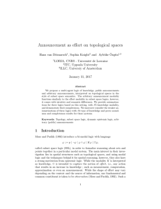Announcement as effort on topological spaces