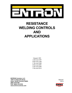 resistance welding controls and applications