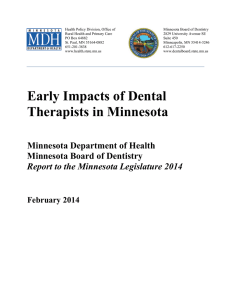 Early Impacts of Dental Therapists in Minnesota: Report to the