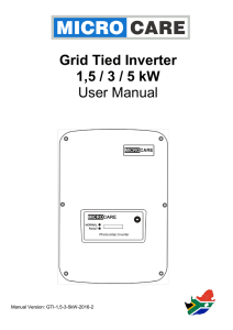 Grid Tied Inverter 1,5 / 3 / 5 kW User Manual