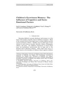 Children`s Eyewitness Memory: The Influence of Cognitive and