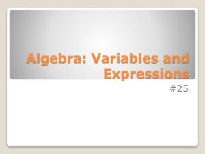 notes 25 Algebra Variables and Expressions