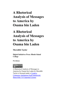 A Rhetorical Analysis of Messages to America by Osama bin Laden