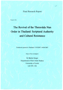 The Revival ofthe Theravada Nun Order in Thailand