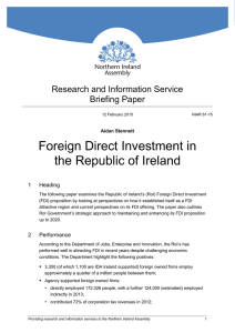 Foreign Direct Investment in the Republic of Ireland (FDI)