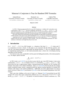 Mansour`s Conjecture is True for Random DNF Formulas