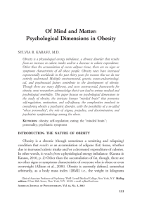 Of Mind and Matter: Psychological Dimensions in Obesity