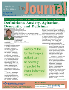 Definitions: Anxiety, Agitation, Dementia, and Delirium