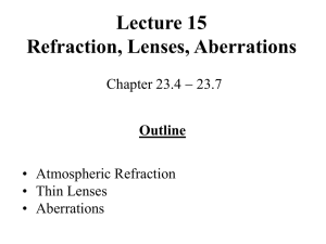 Refraction, Lenses, Aberrations