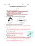 Unit 9: Magnetism and Induction Review KEY