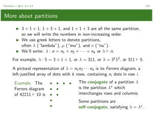 More about partitions