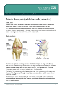 Anterior knee pain (patellofemoral dysfunction)