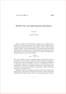 Planck`s Law and Light Quantum Hypothesis.