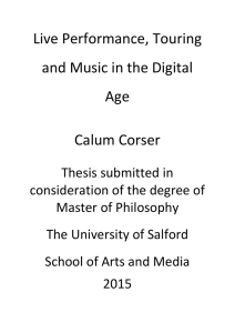 Live Performance, Touring and Music in the Digital Age Calum Corser