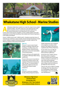 Whakatane High School · Marine Studies