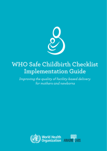 WHO Safe Childbirth Checklist Implementation Guide