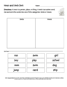 Noun and Verb Sort - Ms. Sugar`s Classroom
