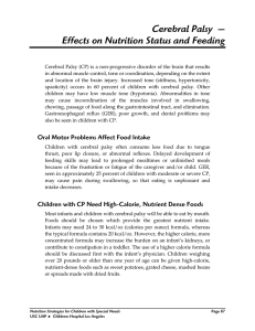 Effects on Nutrition Status and Feeding