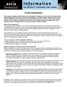 Food intolerance - Australasian Society of Clinical Immunology and