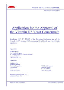Vitamin D Yeast Dossier - Advisory Committee on Novel Foods and
