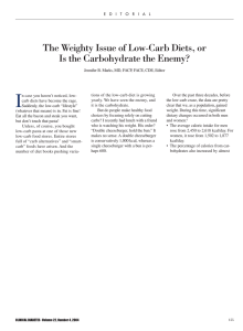 The Weighty Issue of Low-Carb Diets, or Is the