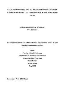 FACTORS CONTRIBUTING TO MALNUTRITION IN CHILDREN CAPE