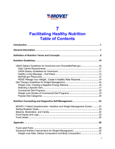 7 Facilitating Healthy Nutrition Table of Contents