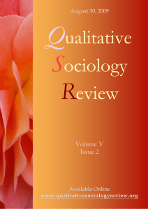 this issue - Qualitative Sociology Review