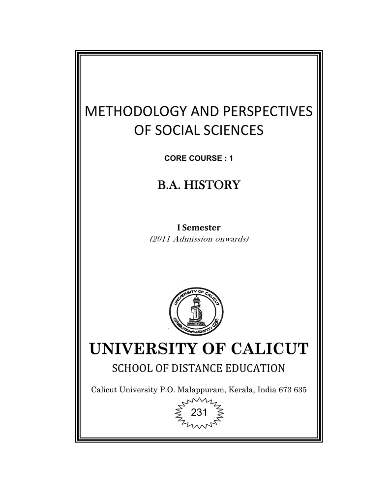 Methodology and Perspectives of Social Sciences