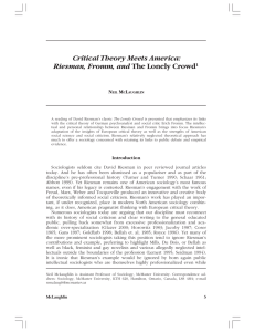 Critical Theory Meets America: Riesman, Fromm, and The Lonely