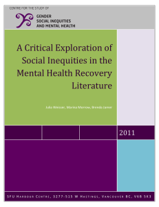 A Critical Exploration of Social Inequities in the Mental Health