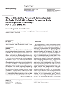 What Is It like to Be a Person with Schizophrenia... the Social World? A First-Person Perspective Study