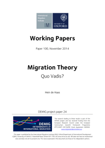 Working Papers Migration Theory Quo Vadis? Paper 100, November 2014