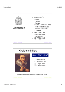 Astrobiología Kepler`s third law