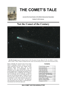 the comet`s tale - Institute of Astronomy