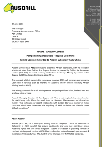 MARKET ANNOUNCEMENT Pampe Mining Operations – Bogoso